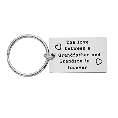 Best Grandpa Gift from Grandson for Father's Day, Birthday Gifts for Grandpa, The Love Between A Grandfather and Grandson is Forever Keychain, Stainless Steel