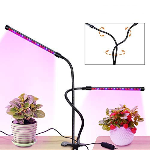 Grow Light Plant Light Flouroen RFC-J 18W Dual Head LED Grow Lights 36LED 3 Working Modes Dimmable with Red/Blue Spectrum 360 Degree Adjustable Plant Light for Indoor Plants
