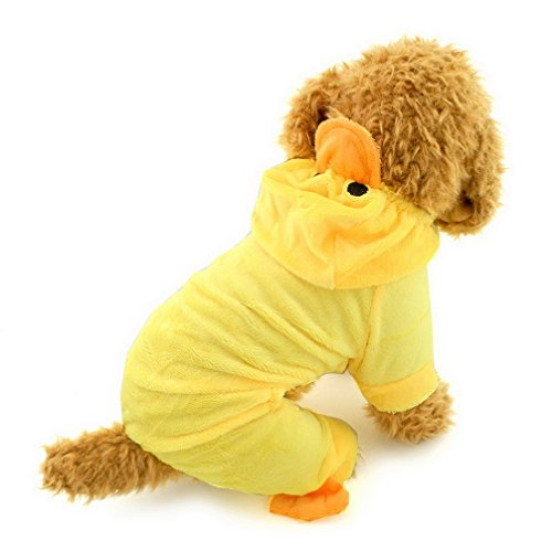 Ranphy Small Dog/Cat Outfits Jumpsuit for Dogs Halloween Costume Xmas Duck Apparel Pet Holidays Fancy Clothing Yellow -