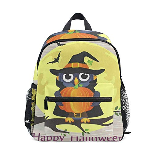 Mini Backpack Halloween Owl In Witch Costume With Pumpkin School Bag Small ()