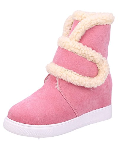 Minetom Women's Fur Lined Velcro Sneakers Trainers High Wedge Heel Ankle Boots Pink zIa07EnOgR
