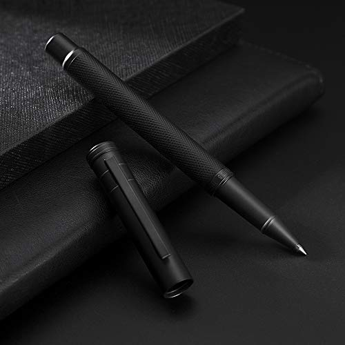 HongDian Matte Black Forest Rollerball Pen, Classic Design Black Refill Pen with Metal Case