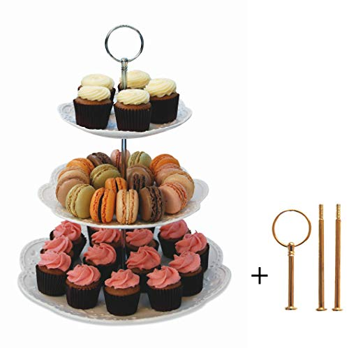 (Sophia Interchangeable 2 or 3 Tier Cake Cupcake Dessert Display Stand - Serving Platter Includes Silver and Gold Hardware)