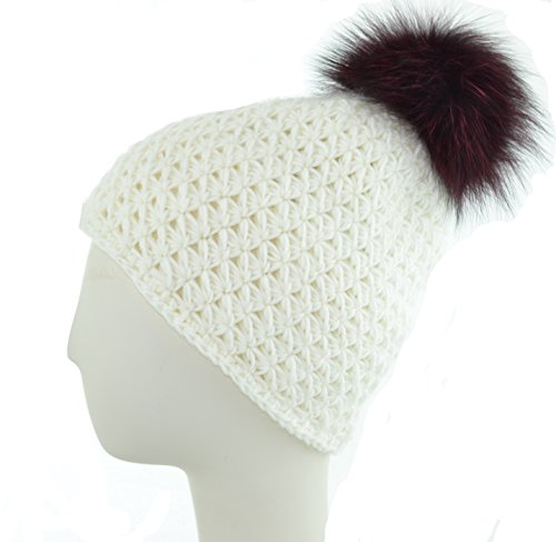 Knit Hat w/Fox Pom (Ivory/Black Cherry) ()