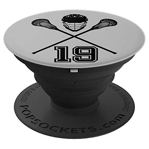 Lacrosse Jersey Number 19 Lax Player No #19 Sports Fan Gift - PopSockets Grip and Stand for Phones and Tablets