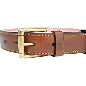 Soft Touch Collars Padded Leather Dog Collar, Brown with Light Pink Padding, Medium Sized, Genuine Real Leather