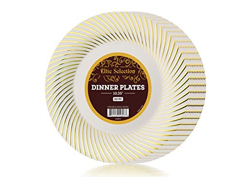 Plastic Plates Pack Of (50) Dinner Disposable Party Plates- Hard Gold Plastic Plates - Wedding Plates - Fancy Party Goods - Cream Ivory Color With Gold Swirl 10.25