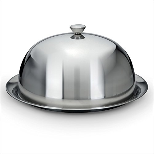 cheese and cake cover dome with serving plate stainless steel