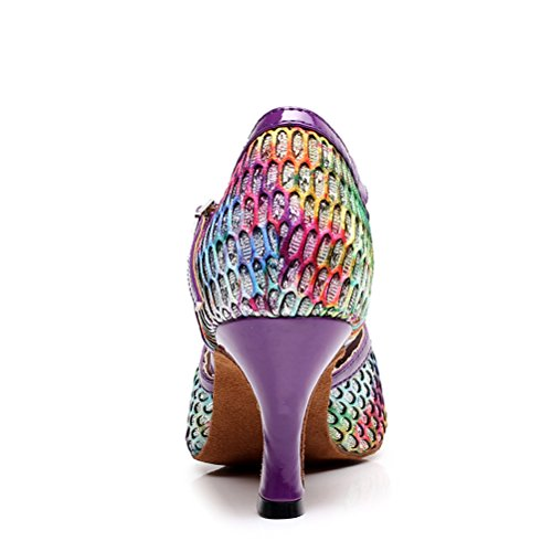 CXS Ladies Open Toe Party Wedding Heels Ballroom Dance Shoes For Salsa Tango and Practice, 2.75 Heel Purple