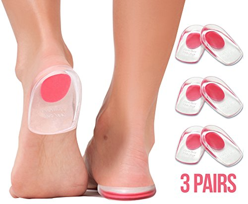 Gel Heel Cups Plantar Fasciitis Inserts - Silicone Heel Cup Pads for Bone Spurs Pain Relief Protectors of Your Sore or Bruised Feet Best Insole Gels Treatment by Armstrong Amerika (Small)