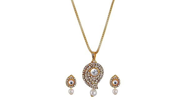 SUBHARPIT Ethnic Gold Plated Pearl /& Diamond Necklace Set for Women /& Girls Necklace /& Earring