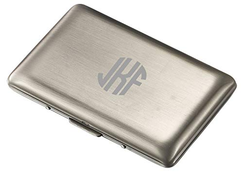 Visol Antique Silver Double Sided Business Card Case with Free Laser Engraving (Circle Monogram)