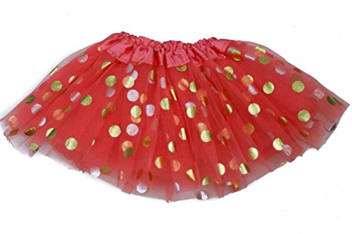 The Hair Bow Company Little Girls Baby & Toddler Gold Polka Dot Tulle Tutu Skirt for 0-2 Years Coral (Gold Coral)