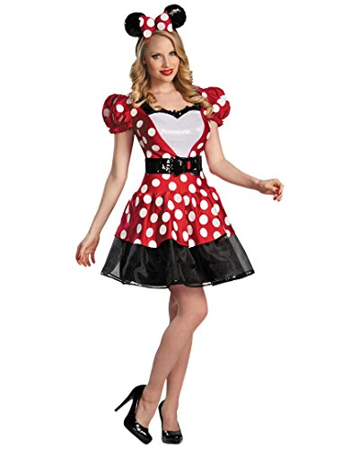Disguise Women's Disney Mickey Mouse Glam Minnie Costume, Red/White/Black, Large/12-14 - Minnie And Mickey Mouse Halloween Costumes For Adults