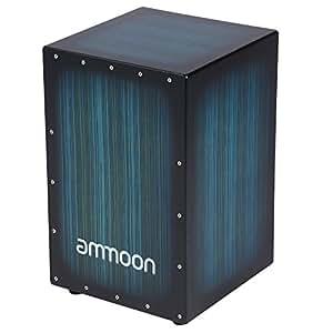 ammoon Cajón Caja de Madera Tambor de Mano Instrumento de Percusión Madera de Cebra con Picos de Goma 30 * 31 * 48cm