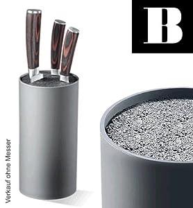 Messerblock rund mit flexiblem Borsten - Einsatz - granitgrau - Höhe 22 cm