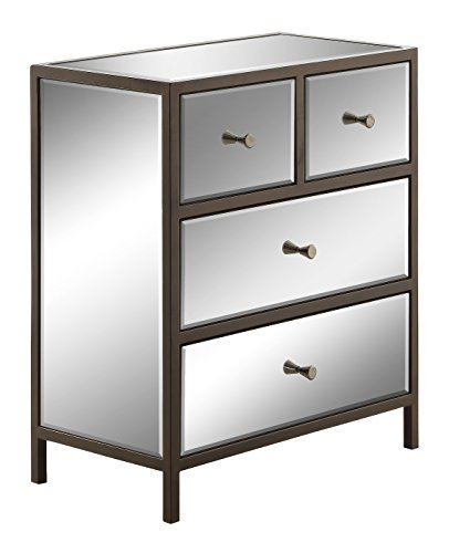 OSP Designs Office Star Marquis 4-Drawer Storage Cabinet with Mirror Surfaces by OSP Designs