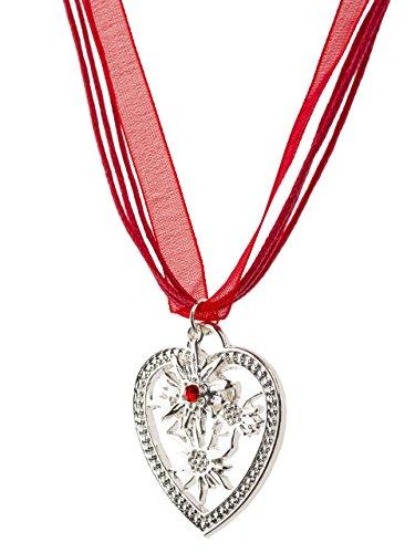 Trachtenkette Wiesn-Charm - eleganter Herz und kleiner Edelweiss Anhänger mit Strass - Trachtenschmuck Kette für Dirndl und Lederhose (Rot)