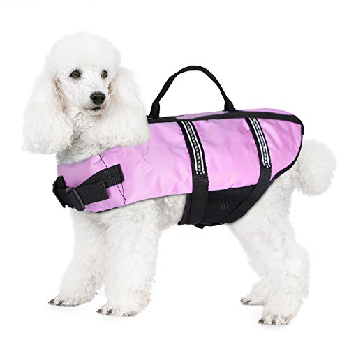 JZHY Dog Life Jacket Safety Clothes Swimming life jackets Swimwear with Adjustable Belt for Dog Pet Size XS Color Violet