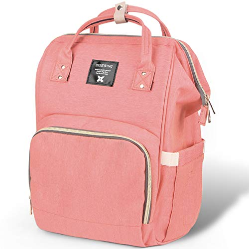 Diaper Bag Backpack, iotta Multi-Functional Diaper Bag, Waterproof Nappy Bags for Mom and Dad, Large Capacity and Durable, Pink …