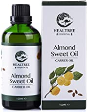 HEALTREE Sweet Almond Carrier Oil 100ml (100% Pure & Natural Australian Cold Pressed Virgin Grade) | Gentle on Scalp for Hair Care, Skincare, Body Massage or mix with Essential oils | GC Analysis Attached
