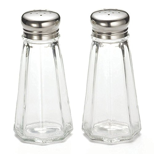- Tablecraft 3 Oz Paneled Glass Salt & Pepper Shakers with Flat Tops