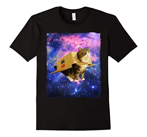 Mens Astronaut Cat Shirt Awesome Box Spaceship Epic Cat Meme Tee XL Black (Cat Halloween Meme)