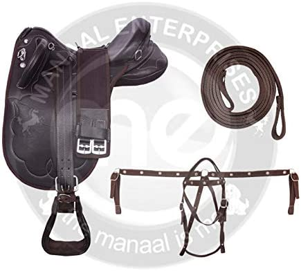 Size 14 to 18 Inch Seat Available Matching Girth Manaal Enterprises Synthetic Suede Australian Stock English Horse Saddle Tack Get Stirrup