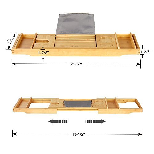 eclife Bamboo Bathtub Caddy Tray Natural Bamboo Frame Holder Free Soap Holder Integrated Tablet Luxury Spa with Folding Sides Natural Ecofriendly Wood, Smartphone Wine Holder Book Holder H01N by eclife (Image #2)