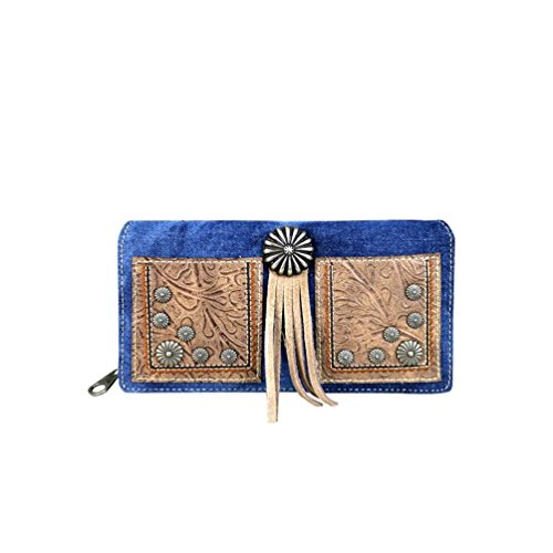MW587-W010 Montana West Concho Collection Secretary Style Wallet (Dark Blue)
