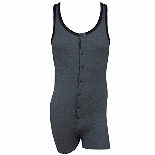 - FEESHOW Men's One Piece Button Up Tank Leotard Top Bodysuit Cotton Underwear