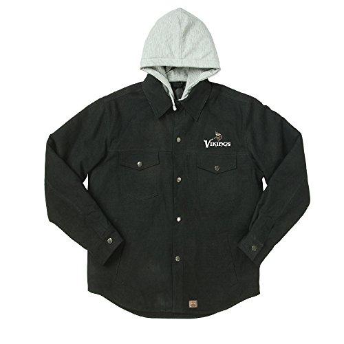 NFL Minnesota Vikings Dukane Canvas Quilt Lined Jersey Hooded Jacket, Black, Large