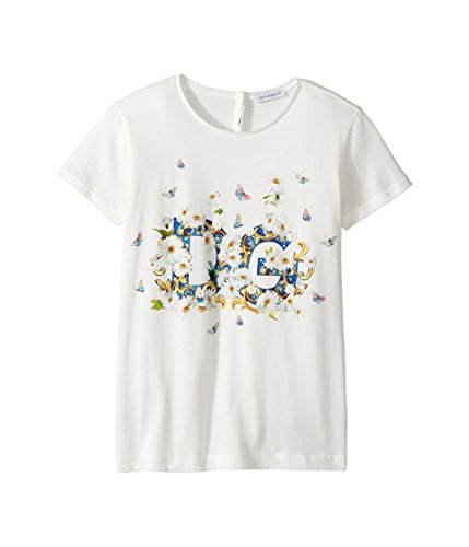 Dolce & Gabbana Kids Girl's Caltagirone Floral Print T-Shirt (Big Kids) White 10 (Big Kids) by Dolce & Gabbana