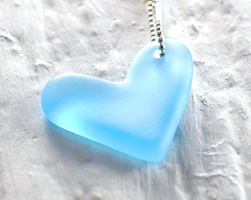 Heart Frosted Glass - Blue Valentine Gin Bottle Pendant - Recycled Bombay Sapphire Bottle - Glass Heart