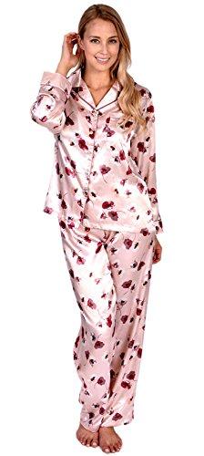 Floral Satin Pajamas (Patricia Women's Satin Pajamas 2 Piece Set With Floral Print (Lavender, M))