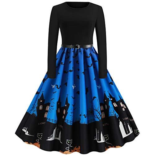 GREFER Evening Party Prom Dress Women Vintage Elegant Swing Hepburn Dresses Fashion Printed Halloween Dresses
