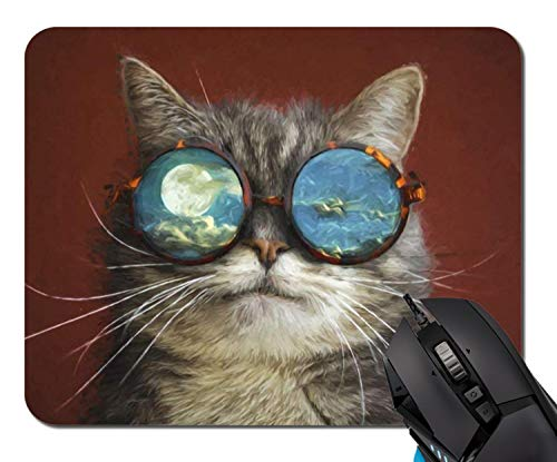 Mouse Pad,Cats Painting Art Whiskers Glasses Moon Mouse Pad Rectangle Non-Slip Rubber Mousepad Office Accessories Desk Decor Mouse Pads for Computers Laptop ()