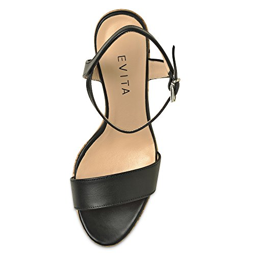 Valeria Damen Schwarz Shoes Glattleder Keilsandalette Evita TZqEa5xww