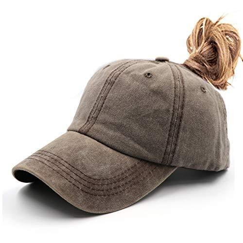 Ponytail UnconstructedWashed Dad Hat Messy High Bun Ponycaps Plain Baseball Cap Khaki