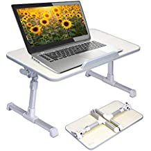 Neetto Adjustable Laptop Table, Portable Standing Bed Desk, Foldable Sofa Breakfast Tray, Notebook Stand Reading Holder for Couch Floor - Minitable Honeydew