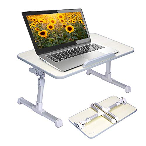Neetto Adjustable Laptop Table, Portable Standing Bed Desk, Foldable Sofa Breakfast Tray, Notebook Computer Stand Reading Holder for Couch Floor - Minitable Honeydew