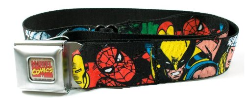 Buckle Down Big Boys 5-marvel Characters Black Seatbelt Belt, multi, Regular - Cheap Seat Buckle Belts