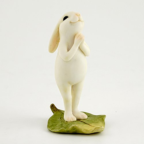 Standing Rabbit Figurine - Top Collection Miniature Fairy Garden & Terrarium Yoga Bunny in Standing Namaste Pose Statue, Small