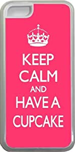 Rikki KnightTM Keep Calm and have a Cupcake - Tropical Pink Design iPhone 5c Case Cover (Clear Rubber with bumper protection) for Apple iPhone 5c