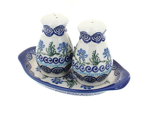 Polish Pottery Charleston Salt & Pepper with Tray