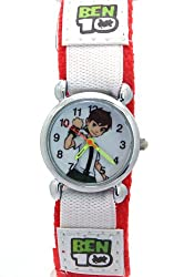 Ben 10 Kids Boys Gilrs Children Men Women Red Velcro Watchband White Dial Analog Quartz Watches