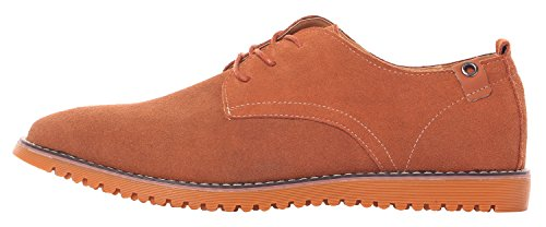 Runday Men's Fashion Suede Leather Shoes Round Toe Lace Up Casual Oxfords(9 D(M)US,tan) (9 D(M) US, Tan) by Runday (Image #3)