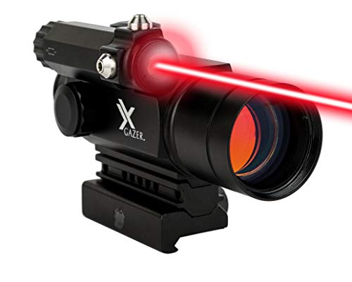 Xgazer Optics Point View Red Dot Sight with Laser - 2 MOA Dot Laser Sight - Fully Multy-Coated Lens - Shockproof, Fog Proof, and Waterproof (Red Dot Sniper Scope)