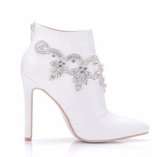 35 Pointed Wedding Dress Evening Women's Bridal Rhinestones EUR41UK758 NVXIE White Heel Ankle Boots Size Autumn WHITE 41 Shoes High Ladies Single Spring Leather Party RqPO0