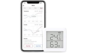 SwitchBot Thermometer Hygrometer Alexa iPhone - Android Wireless Temperature Humidity Sensor with Alerts, Add SwitchBot Hub Compatible with Alexa, Google Home, HomePod, IFTTT